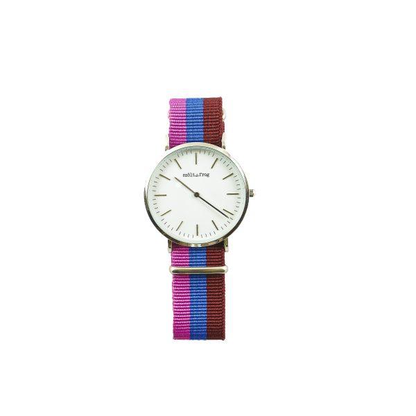 Reloj plata correa nylon rosa