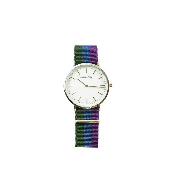 Reloj plata correa nylon tricolor