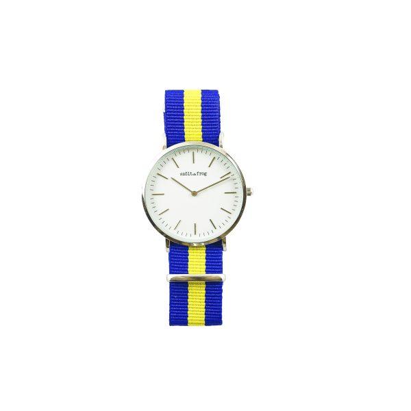 Reloj plata correa nylon azul y amarillo
