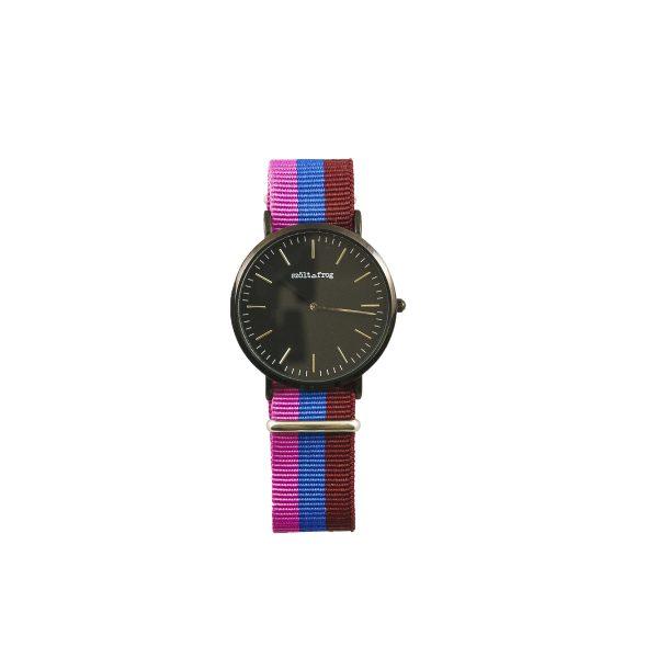 Reloj negro correa gris nylon tricolor