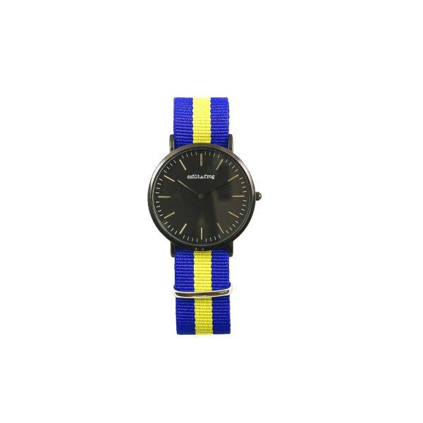 Reloj negro correa gris nylon azul y amarillo