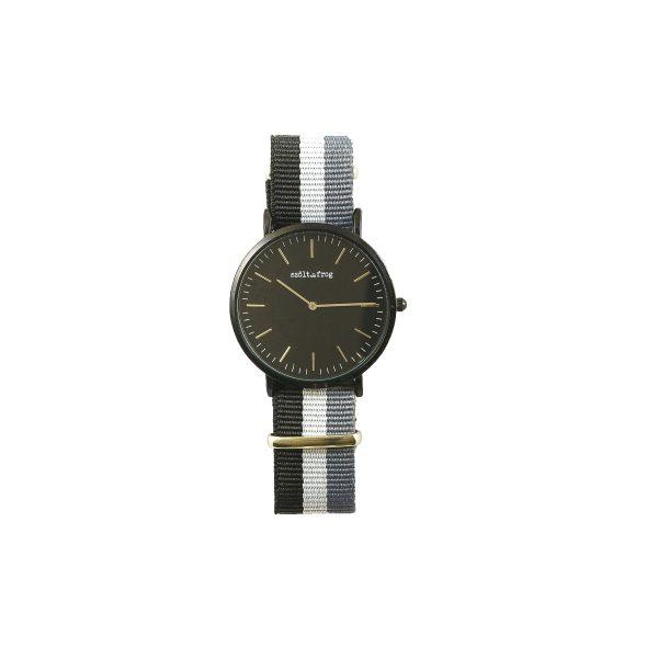 Reloj negro correa gris nylon