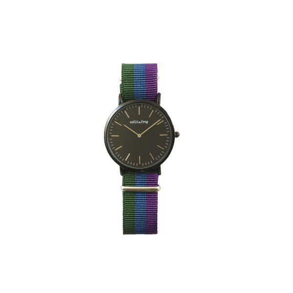 Reloj negro correa tricolor