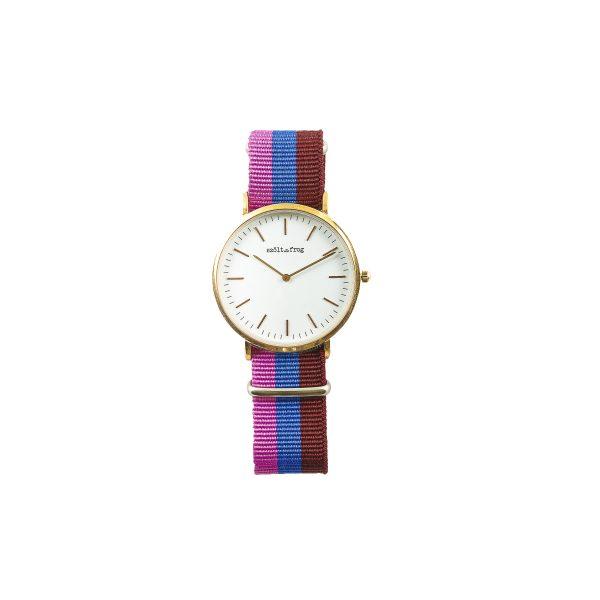 Reloj dorado correa nylon rosa