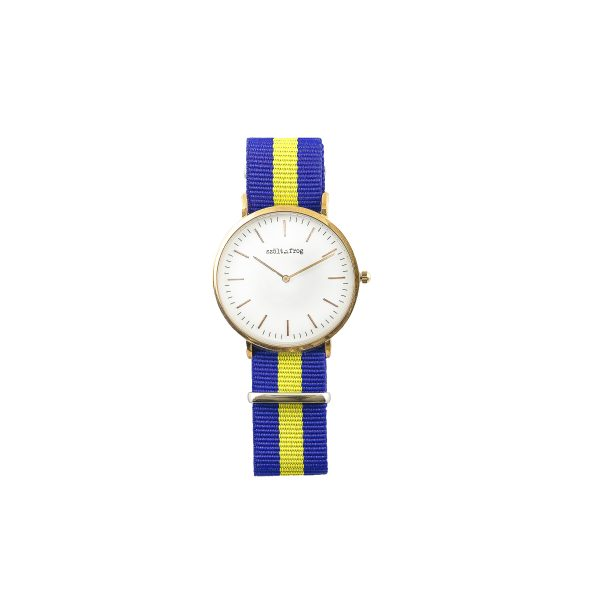 Reloj dorado correa nylon azul y amarilla