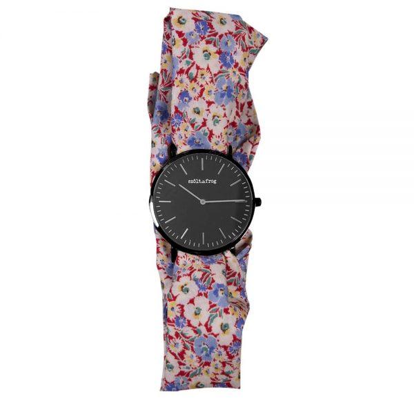 reloj negro lazo flores