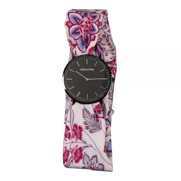 reloj esfera negra flor blanca