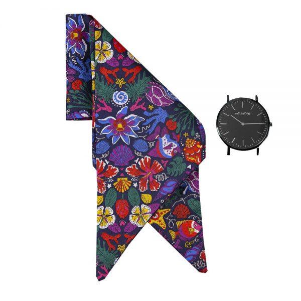 reloj esfera negra lazo peces