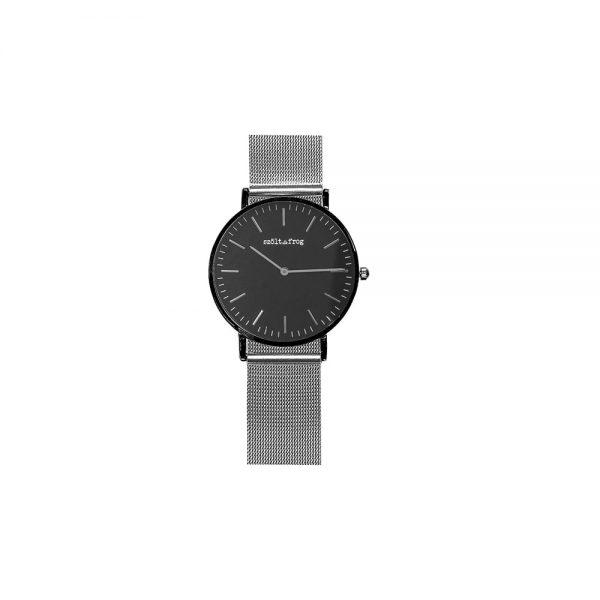 reloj negro correa malla plata