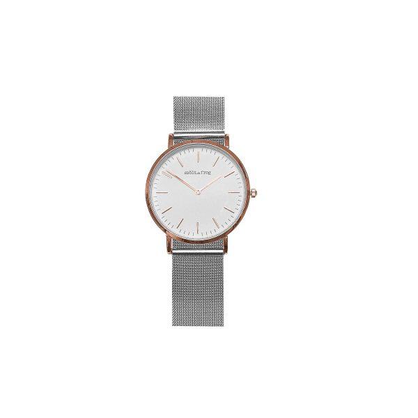 reloj rosa malla plata