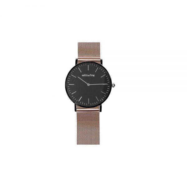 reloj negro correa malla rosa