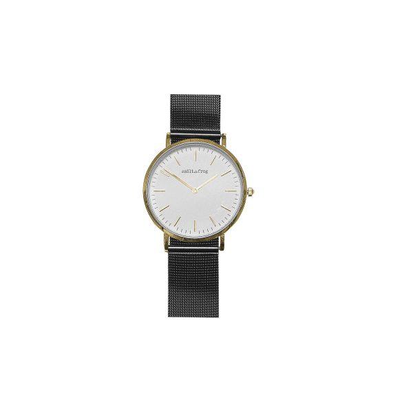 reloj dorado malla negra