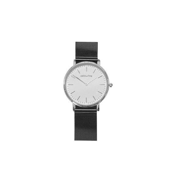 reloj plata malla negra