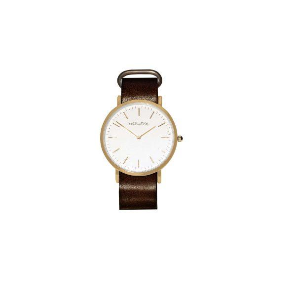 reloj dorado correa piel marron