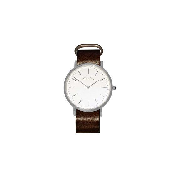 reloj plata correa piel marron