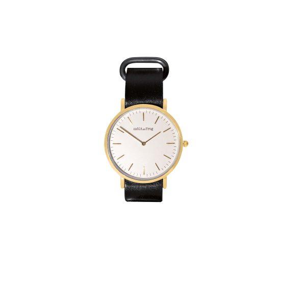 reloj dorado correa piel negra