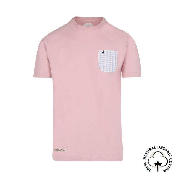 camiseta con bolsillo organica rosa