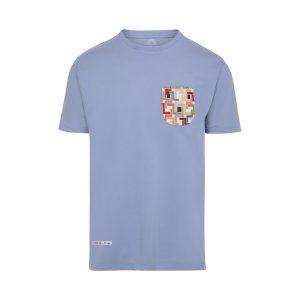 camiseta con bolsillo azul